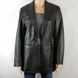 S 100% Leather Jacket by Denim & Co. Black EUC